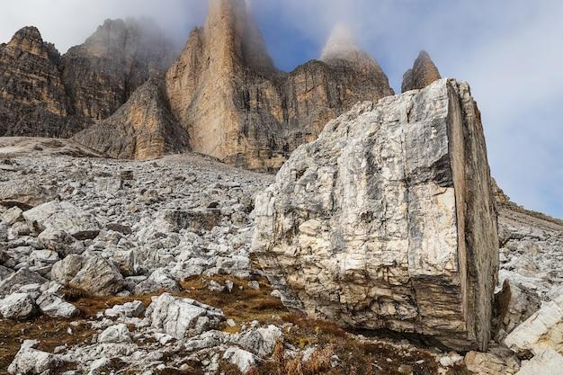 Rocky mountains view in tre cime di lavaredo park, dolomites, italy