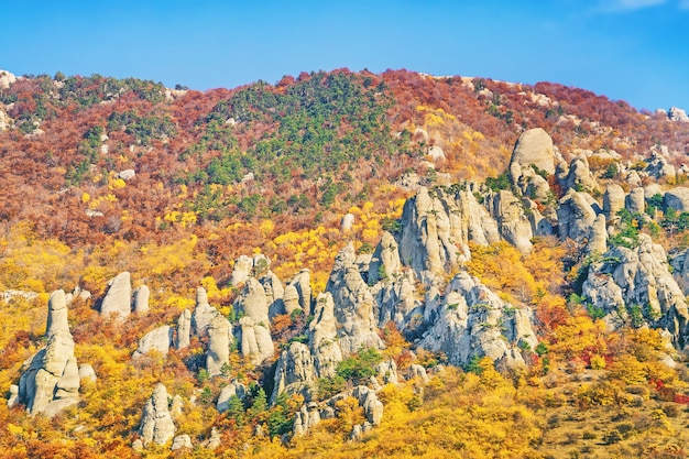Rocky mountains with stone blocks in the form of statues with bright colorful trees in the autumn season
