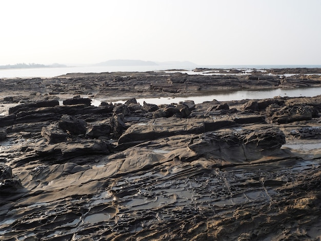 Rocky sea coast in the indian state of goa