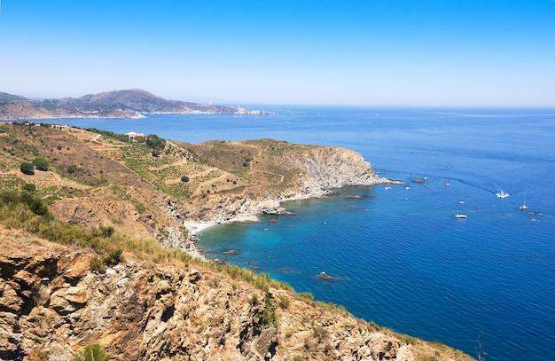 Rocky shore in marine reserve of cerbere banyuls, mediterranean sea