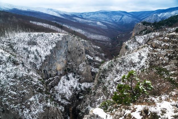 冬の上面図の岩だらけの雪の峡谷