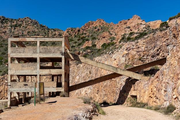 Rodalquilarの古い放棄された金鉱山。カボデガタ。スペイン。