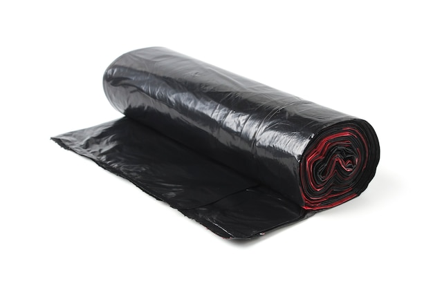 Roll of black plastic garbage bags isolated on a white