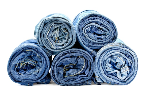 Roll blue jeans isolated