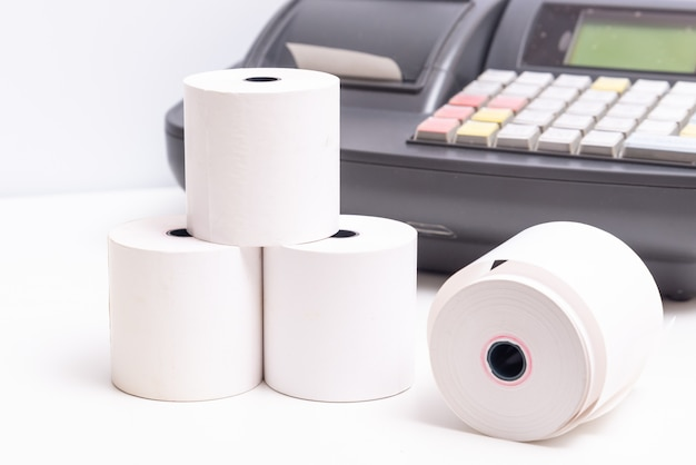 Roll of cash register paper receipt