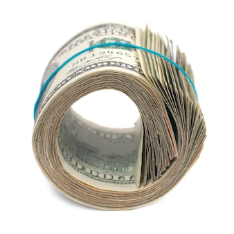 Roll of money- cash of us dollars isolated