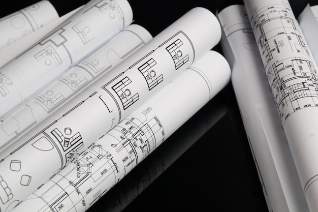 Roll of paper architectural drawings and blueprint