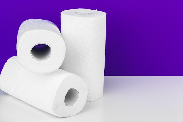 Roll of paper towel on table