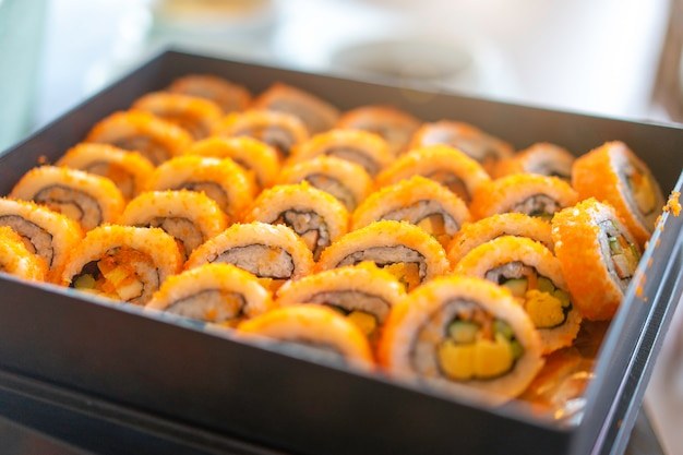 Roll sushi set ready for eat at a japanese restaurant.