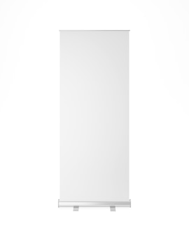 Roll up stand front view on white background 3d rendering