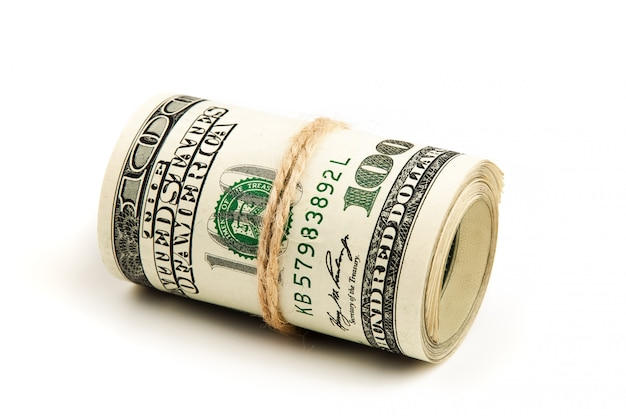 Roll of us dollars, isolated.