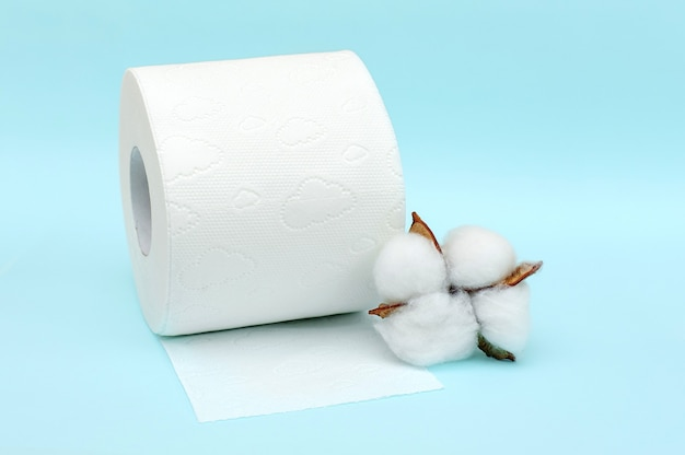 Roll of white toilet paper and cotton flower on blue background