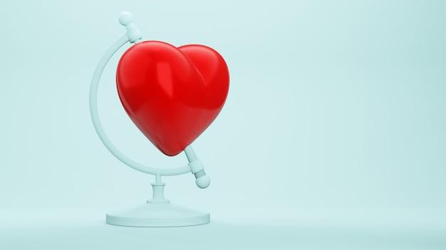 심장 초현실적 인 개념으로 세계를 롤, 3d 렌더링