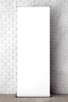 빈 프레임 극단적인 근접 촬영으로 벽돌 벽 앞에 압연 배너 프로모션 스탠드