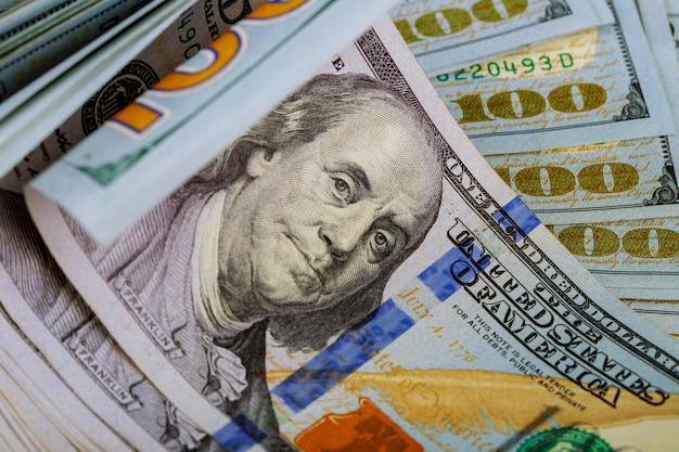Rolled dollar bills, money and finance detail
