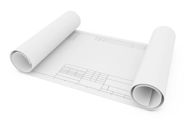 Свернутая бумага шаблона чертежа на белой предпосылке. 3d рендеринг