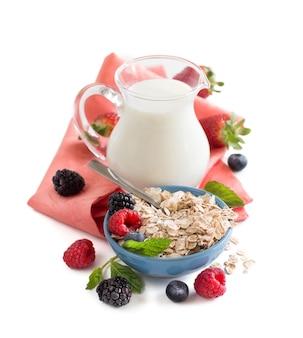 Овсяные хлопья в миске с ягодами и молоком, изолированные на белом