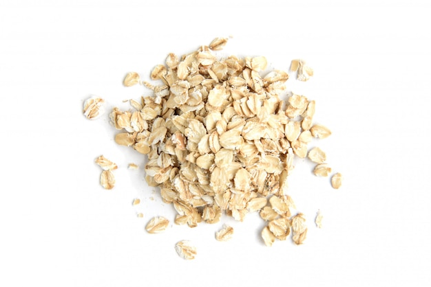Rolled oats isolated top view