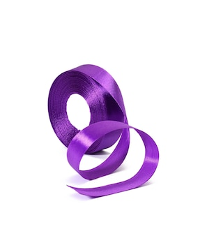 Rolled purple silk ribbon in roll isolated on white background, close up