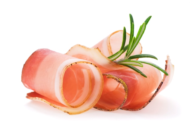 Rolled slices of ham