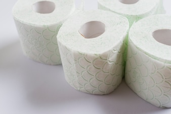 Rolled up toilet paper isolated on white background
