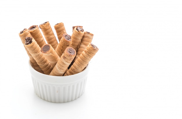 Rolled wafer filled with cocoa cream