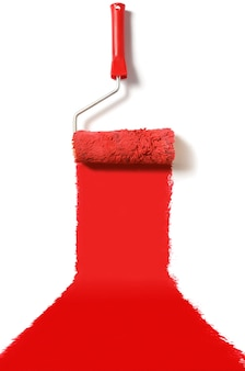 Roller brush with red paint isolated