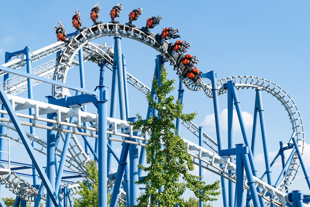 Roller coaster loop in amusement park