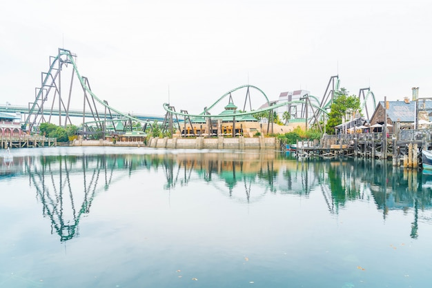 Roller coaster in universal studios theme park