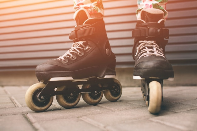 Roller skates outdoors. summer lifestyle portrait