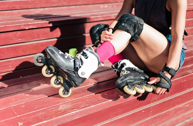 Roller woman siting outdoor