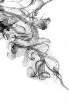 Rolling black smoke on white background
