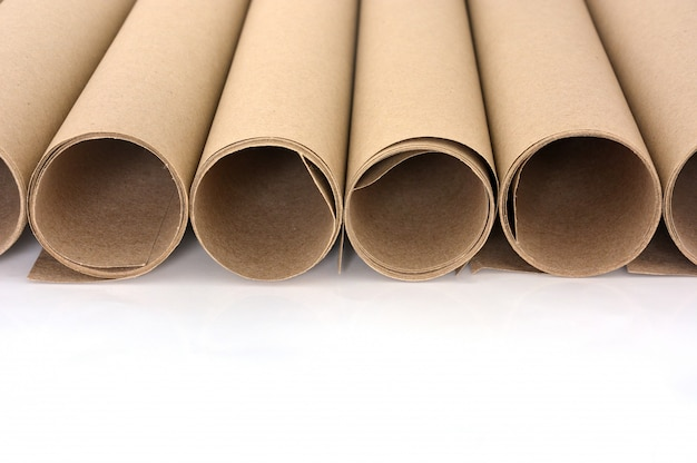 Rolls of brown paper