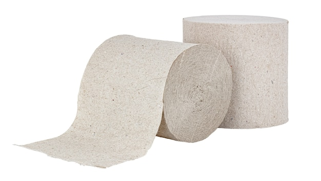 Rolls of cheap grey toilet paper isolated on white background