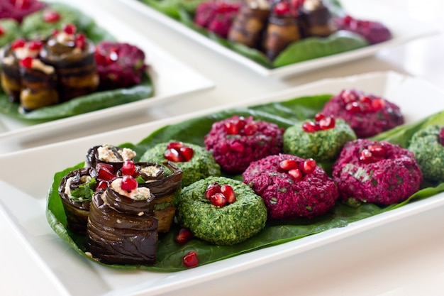 Rolls of eggplant with a filling of walnuts,