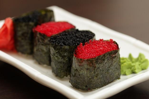 Rolls with caviar