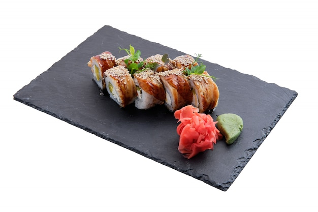 Rolls with eel isolated