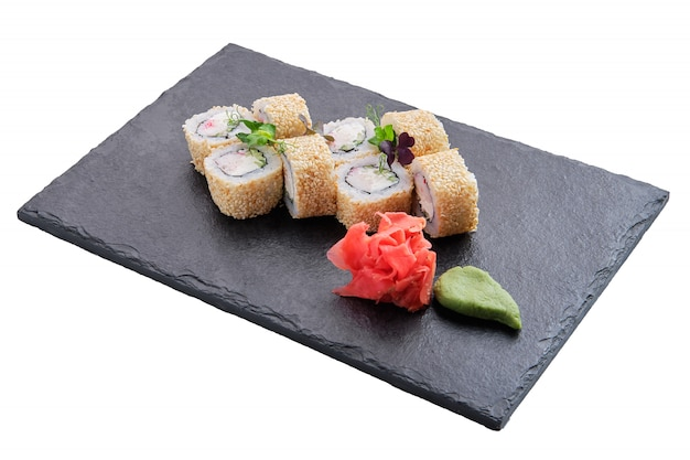 Rolls with salmon and sesame isolated