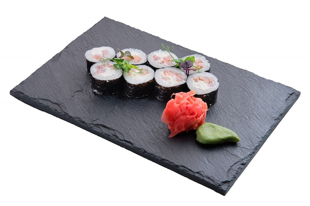 Rolls with shrimps isolated