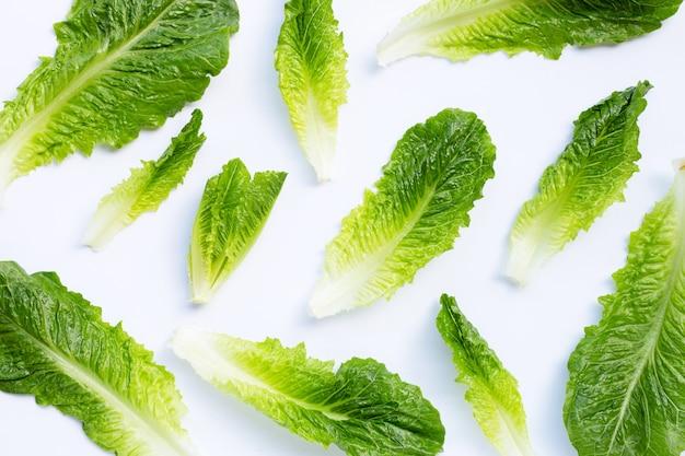 Свежий салат romaine изолированный на белизне