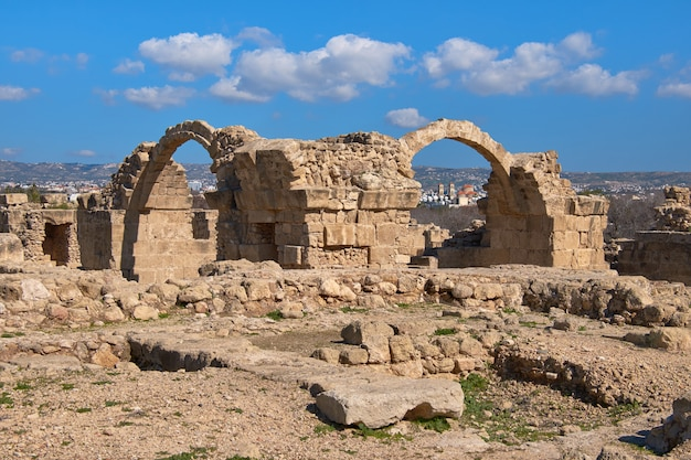 Roman arches in pafos archaeological park in kato