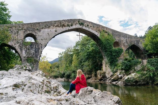 Roman bridge in asturias spain