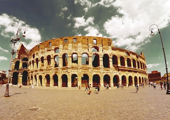 Roman coliseum seen from afar