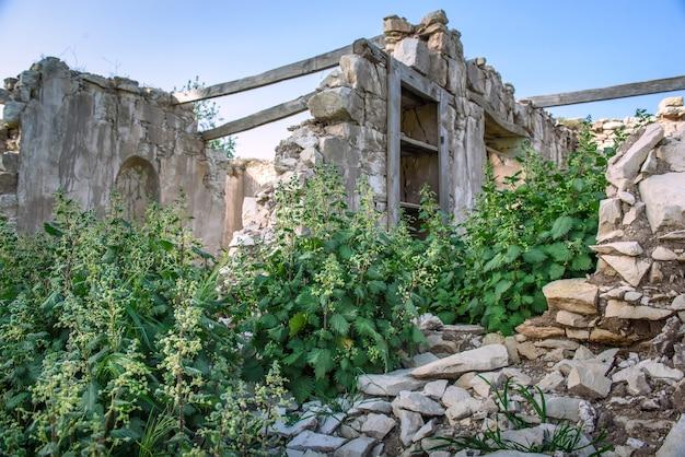 キプロスの放棄された村の伝統的な家の廃墟にローマのイラクサ