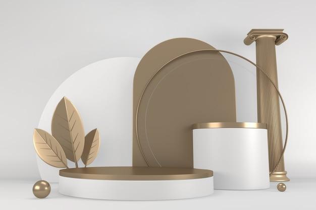 背景の花崗岩の白の化粧品のためのローマの表彰台の白。 3dレンダリング