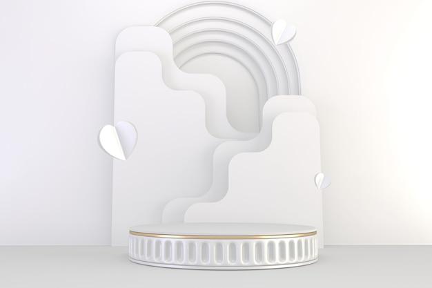 Римский подиум белый для косметического продукта на белом фоне гранита. рендеринг