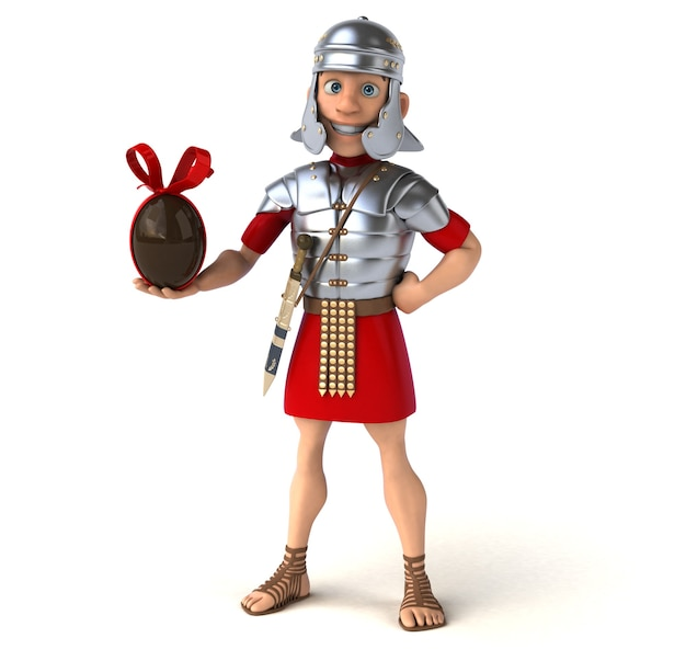 Roman soldier holding a chocolate easter egg