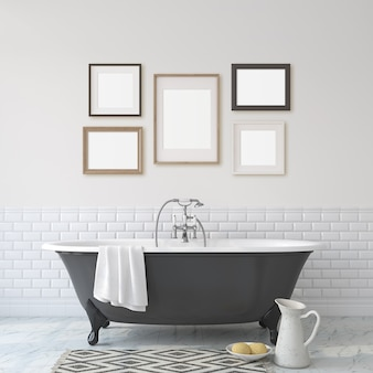 로맨스 화장실. 흰 벽 근처의 검은 욕실. 벽에 5개의 다른 프레임. 인테리어 및 프레임 모형. 3d 렌더링입니다.