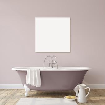 Романтическая ванная комната. макет интерьера и кавы. 3d визуализация.