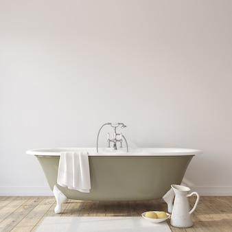 Романтическая ванная комната. макет интерьера. 3d визуализация.